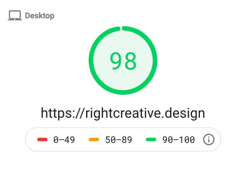 Google Page Speed Insights Desktop Score - 98%