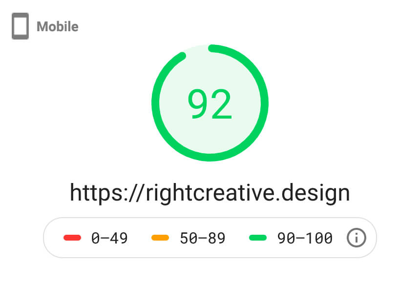 Google Page Speed Insights Mobile Score - 92%